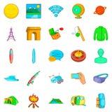 Adventure icons set, cartoon style. Adventure icons set. Cartoon set of 25 adventure vector icons for web isolated on white background Stock Photos