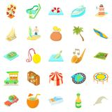 Adventure icons set, cartoon style. Adventure icons set. Cartoon set of 25 adventure icons for web isolated on white background Stock Photography