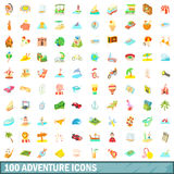 100 adventure icons set, cartoon style. 100 adventure icons set in cartoon style for any design vector illustration Royalty Free Stock Photography