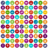 100 adventure icons set color. 100 adventure icons set in different colors circle isolated vector illustration royalty free illustration