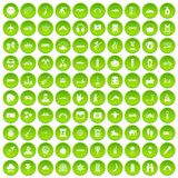 100 adventure icons set green circle Stock Photos