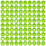 100 adventure icons set green. 100 adventure icons set in green circle isolated on white vectr illustration Vector Illustration