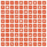 100 adventure icons set grunge orange. 100 adventure icons set in grunge style orange color isolated on white background vector illustration Royalty Free Illustration