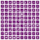 100 adventure icons set grunge purple. 100 adventure icons set in grunge style purple color isolated on white background vector illustration Stock Photo