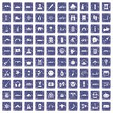 100 adventure icons set grunge sapphire. 100 adventure icons set in grunge style sapphire color isolated on white background vector illustration Royalty Free Stock Images