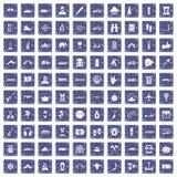 100 adventure icons set grunge sapphire. 100 adventure icons set in grunge style sapphire color isolated on white background vector illustration vector illustration