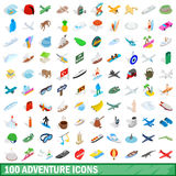 100 adventure icons set, isometric 3d style. 100 adventure icons set in isometric 3d style for any design vector illustration Royalty Free Stock Image