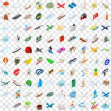 100 adventure icons set, isometric 3d style Royalty Free Stock Photography