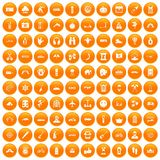 100 adventure icons set orange. 100 adventure icons set in orange circle isolated on white vector illustration Royalty Free Illustration