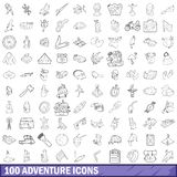 100 adventure icons set, outline style. 100 adventure icons set in outline style for any design illustration royalty free illustration