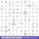 100 adventure icons set, outline style. 100 adventure icons set in outline style for any design vector illustration Royalty Free Stock Photo