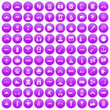 100 adventure icons set purple. 100 adventure icons set in purple circle isolated on white vector illustration stock illustration