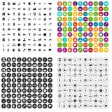 100 adventure icons set vector variant. 100 adventure icons set vector in 4 variant for any web design isolated on white stock illustration