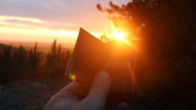Adventure idea. Book with the inscription and sunset in the forest. Book with the inscription adventure. Forest on background stock video footage