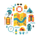 Adventure illustration with map and caming and rafting equipment. Adventure. Round vector illustration with rafting and camping equipment - map, raft, vest Royalty Free Stock Images