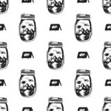 Adventure Jar Bottle seamless pattern with tent symbol, mountain elements. Vintage hand drawn wallpaper background for royalty free illustration