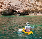 Adventure Kayaking. Adventure kaying in Bandar Kayran, off the coast of Oman Stock Photography