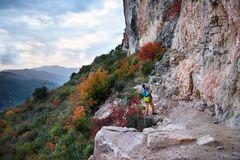 Adventure lifestyle.Travel destination, discover  Europe. Rock c. Travel destination, discover  Europe. Rock climbing region, rock climber choosing a sport route Stock Photography