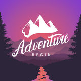 Adventure logo lettering calligraphy. Outdoor activity symbol on mountain landscape background. Adventure begin emblem. Royalty Free Stock Photography