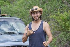 Adventure man hanging loose in wilderness royalty free stock photos