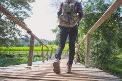 Adventure man hiking with backpack, Close-up of female hikers s royalty free stock photos