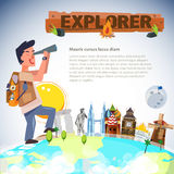 Adventure man looking with telescope around the world. landmark Stock Photography