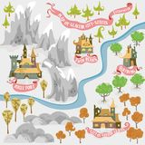 Fairy tale fantasy map builder set of Everwinter Realm and City states in colorfule vector illustrations. Y vector illustration