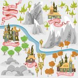 Fairy tale fantasy map builder set of Everwinter Realm and City states in colorfule vector illustrations stock illustration