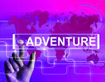 Adventure Map Displays International or Internet Adventure and E. Adventure Map Displaying International or Internet Adventure and Enthusiasm Royalty Free Stock Image