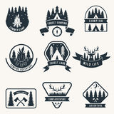 Adventure monochrome badges set. Silhouette of tent. Camping vector labels stock illustration