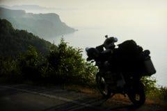 Adventure motorcycle on Turkey coastline Stock Image