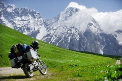 Adventure motorcycle on the Zagar Pass Royalty Free Stock Photos