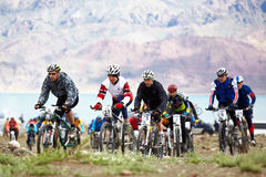 Adventure mountain bike competition Royalty Free Stock Photos