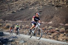 Adventure mountain bike competition Royalty Free Stock Image