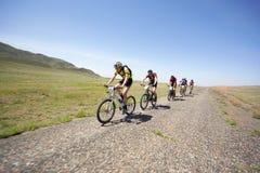 Adventure mountain bike maranthon in desert Stock Photo