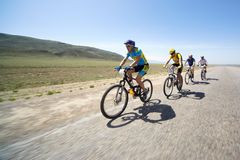 Adventure mountain bike maranthon in desert Royalty Free Stock Photography