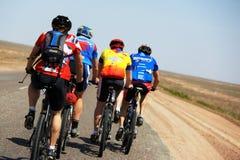 Adventure mountain bike maranthon in desert Royalty Free Stock Images
