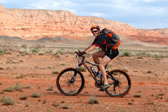Adventure mountain bike  marathon in desert Stock Photos