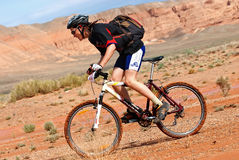 Adventure mountain bike  marathon in desert Stock Photo