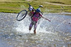 Adventure mountain bile competition Stock Images