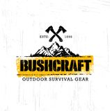 Adventure Mountain Hike Bushcraft Creative Motivation Sign Set Concept. Survival Equipment Vector Outdoor Design. On Organic Rough Distressed Textured stock illustration