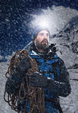Adventure mountain man Stock Images