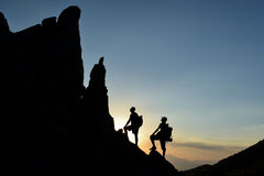 Adventure and nature passion in summit mountains. Success ;Adventure and nature passion in summit mountains Stock Images