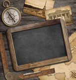 Adventure nautical background with treasure map, compass, blackboard stock illustration
