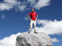 Adventure in the Outdoors - Montana. Hiker on the summit of Silver Run Peak, Montana Royalty Free Stock Image