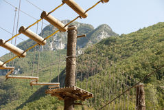 Adventure park. In a wonderfull umbria valley close to scheggino Royalty Free Stock Photography