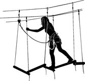 Adventure park rope ladder Stock Photo