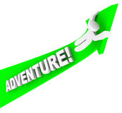 Adventure Person Riding Arrow Up Fun Excitement. A man or person rides up a green arrow of Adventure and excitement, having a fun adventurous time Royalty Free Stock Images