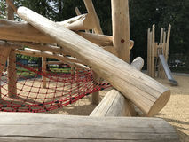 Adventure playground. Children`s adventure playground mostly made of clean wooden logs Royalty Free Stock Photos
