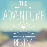 Adventure Quote on Blurred Background Royalty Free Stock Photography